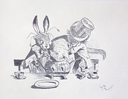 Mad Hatter Drawings Prints - Mad Hatter 1865 Tea Party  Print by J D  Fields