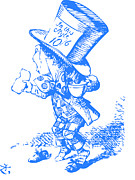 Mad Hatter Drawings Prints - Mad Hatter Blue Print by