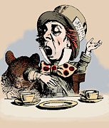 Tea Party Drawings - Mad Hatter Color by John Tenniel