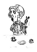 Novel Drawings - Mad Hatter by Donna Haggerty
