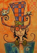 Teapot Drawings - Mad Hatter by Ellen Henneke