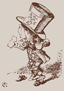 Mad Hatter Posters - Mad Hatter Tea Colored Poster by John Tenniel