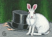 Black Top Painting Posters - Mad March Hare -- Now You See How It Feels Poster by Sherry Goeben