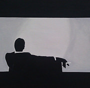 White Suit Framed Prints - Mad Men in Silhouette Framed Print by John Lyes