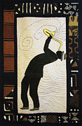 Player Tapestries - Textiles Metal Prints - Mad Sax #2 Metal Print by Aisha Lumumba