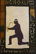 Music Tapestries - Textiles Metal Prints - Mad Sax #3 Metal Print by Aisha Lumumba