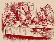 Mad Hatter Drawings - Mad Tea Party by John Tenniel
