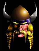 Vikings Posters - Mad Viking Poster by P Dwain Morris