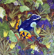 Art Quilt Tapestries Textiles Prints - Madagascar Mantella Print by Lynda K Boardman