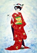 Artist Watercolor Prints - Madam Butterfly Asian Art  Print by John Yato