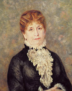 Elderly Female Framed Prints - Madame Eugene Fould Framed Print by Pierre Auguste Renoir