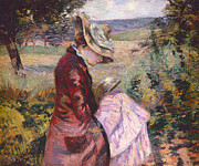 Impressionistic Art - Madame Guillaumin Reading by Jean Baptiste Armand Guillaumin