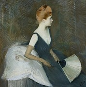 Fan Pastels Posters - Madame Marthe Letellier Sitting on a Sofa Poster by Paul Cesar Helleu
