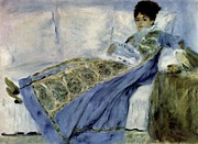 Monet Lady Posters - Madame Monet on the Divan Poster by Claude Monet