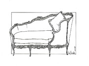 Drop Drawings Originals - Madame Pompadours Little  Day Bed by Ira Shander