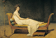 Pillows Metal Prints - Madame Recamier Metal Print by Jacques Louis David
