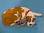 Brindle Painting Prints - Maddie and Kitty Print by BJ Hilton Hitchcock