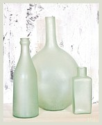 Hand-made Prints - Made in India Sea Glass Bottles Print by Marsha Heiken
