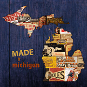 Food And Beverage Mixed Media Metal Prints - Made in Michigan Products Vintage Map on Wood Metal Print by Design Turnpike