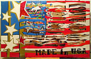 Red White And Blue Mixed Media - made in USA by Hal Weyant