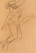 Brown Drawings - Mademoiselle La La at the Circus Fernando by Edgar Degas