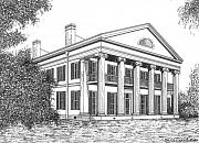 Confederacy Drawings Prints - Madewood Plantation Print by Bruce Kay