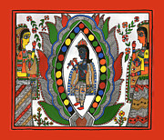 Lord Drawings Metal Prints - Madhubani 1 Metal Print by Himanshu Shrotriya