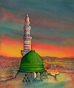 Arabia Painting Framed Prints - Madinah The Beloved City Framed Print by Seema Sayyidah