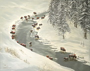 Buffalo River Paintings - Madison River Buffalo by Sharon Tabor