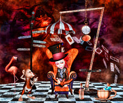 Mad Hatter Framed Prints - Madness in the Hatters Realm Framed Print by Putterhug  Studio