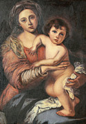 Bartolome Painting Posters - Madona and Child Poster by Mukta Gupta