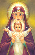 Mother Of God Posters - Madonna and Baby Jesus Poster by Zorina Baldescu