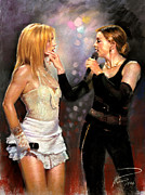 Britney Spears Prints - Madonna and Britney Spears  Print by Viola El