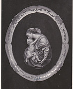 Holy Pyrography Prints - Madonna and Child Print by Allan Koskela