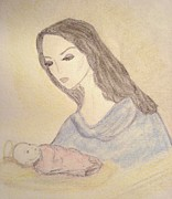 Child Jesus Drawings - Madonna and Child by Christine Corretti
