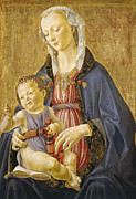 Gold Angel Posters - Madonna and Child Poster by Domenico Bigordi Domenico Ghirlandaio