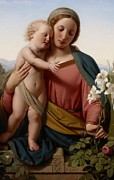 Garden Posters - Madonna and Child Poster by Franz Ittenbach