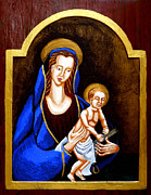 Byzantine Mixed Media Framed Prints - Madonna and Child Framed Print by Genevieve Esson