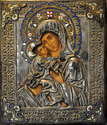 Byzantine Icon. Prints - Madonna And Child Print by Jay Milo