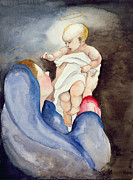 Black Background Paintings - Madonna and Child by Jeanne Maze