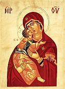 Icon Byzantine Mixed Media Posters - Madonna and Child Poster by Joseph Malham