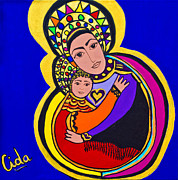 Religious Artist Painting Metal Prints - Madonna and Child Metal Print by Maria Cida  Stolz