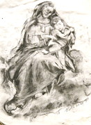Jesus Pastels Prints - Madonna And Child Print by Nell Stockdall
