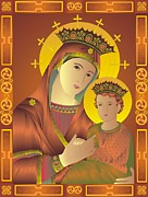 Madonna Mixed Media Posters - Madonna and child Poster by Rupa Prakash