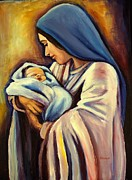 Religious Artist Paintings - Madonna and Child by Sheila Diemert