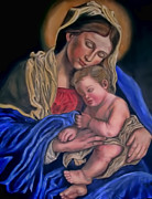 Child Jesus Paintings - Madonna and Child by Terry Sita