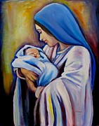 Religious Art Painting Prints - Madonna and Child Version 2 Print by Sheila Diemert