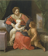 Baby Bird Painting Prints - Madonna and Child with Saint John the Baptist Print by Guido Reni