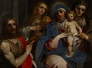 Christ Child Painting Prints - Madonna and Child with Saints John the Baptist with Mary Magdalene and Anne Print by Guiseppe Cesari
