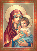 Mother Of God Posters - Madonna and Sitting Baby Jesus Poster by Zorina Baldescu